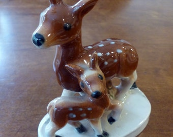 Vintage Pair Of Fawns Deer Porcelain Figurine