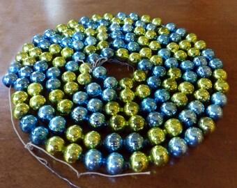 Vintage Mercury Glass Bead Garland Blue Green - 7 Feet - 1/2 Inch