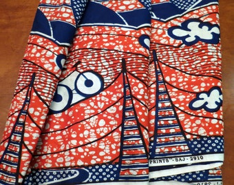 Red Blue African Island Cotton Fabric