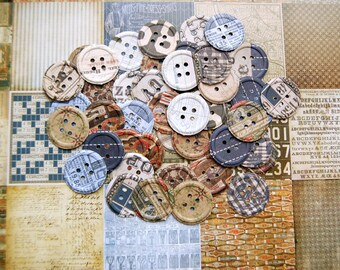 50 Embossed Buttons  NEW Hand Punched From Tim Holtz Idealogy Papers For Layouts, Journals, Altered Mixedmedia Art, Card Making