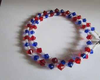 glass red white blue necklace