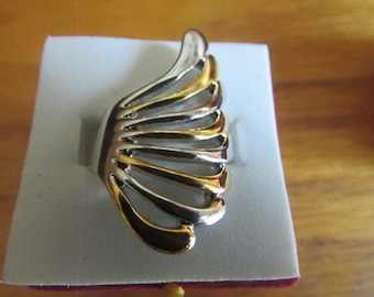 Silver gold wing ring