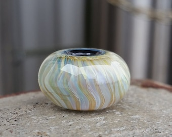 Pleated Big Hole Bead BHB Handmade Lampwork Glass Bead