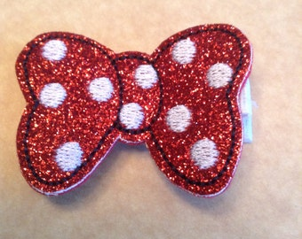 Red and White Polka Dotted Mouse Hair Clip, Felt Hair Clip, Girls Hair Clippie, Toddlers Hair Clip, Girls Hair Bow, (Item 16-499)