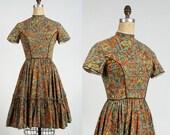 ON SALE Folk Print Dress . 1960s Country Frock Full Skirt