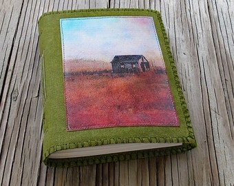 Shacked- distressed green waxed canvas cover journal of original shack painting