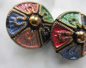 Vintage button, 2 matching pressed glass, hand painted, multi color design, jet black glass, Czech (oct 367)