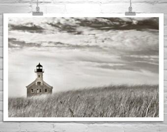 Block Island Art, Rhode Island Photography, Lighthouse Art, New England Art, Seaside Print, Beach Grass, Sepia Art, Murray Bolesta