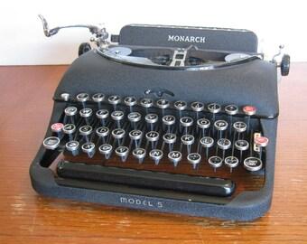 Vintage Remington Rand Monarch Portable Typewriter with Case