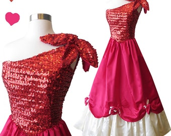 Vintage 70s 80s Dress XS Red Sequin Ball Gown Satin Full Skirt One Shoulder Lipstick Cherry Reds Glam Bombshell Pinup Party Prom Formal