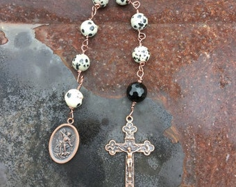 Christmas in July Dalmation Jasper Anglican Chaplet Prayer Beads Saint Michael the Guardian Angel