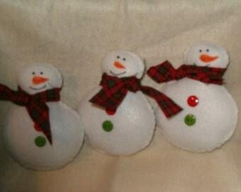 Primitive Felt Snowmen Ornies, Bowl Fillers, tucks, ab4b,ofg
