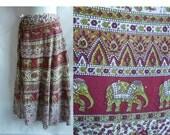Vintage 70s Wrap Skirt Free size Red India Ethnic Tribal Hippie Boho Elephants Peacocks