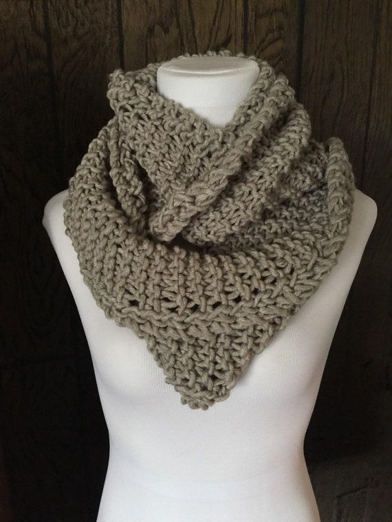 Outlander Inspired Hand Knit Infinity Scarf with Eyelet Braid Detail Light Gray