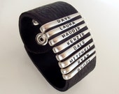 Personalized Fork Tine and Leather Strap Bracelet - Silverware Jewelry
