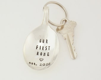 Custom Hand Stamped Spoon Key Chain Silverware Keychain Fun Flatware Key Chain Utensil Key Holder Our First Home Key Chain Unique Keys Gift