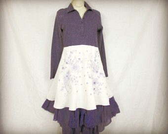 M-L Reconstructed Purple Embroidered Layered Cotton Day Dress// Upcycled// emmeviele