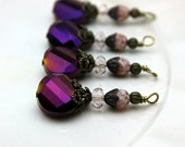 Purple Colorized Faceted Coin with Czech Bead Dangle Charm Drop Set, Necklace Pendant, Earring Dangle, Jewelry Making, Charm