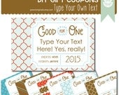 Printable EDITABLE DIY Christmas Coupons - Gift Coupons, DIY Gift, Instant Gift, Gift Tags, Last Minute Gift, Love Tickets