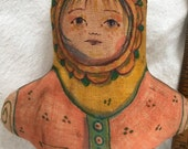 Stuffed doll handmade primitive child tea stained  ONE DOLL girl child art