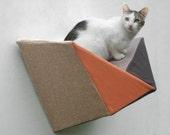 Modern wall bed geometric cat shelf in rusty peach, brown, taupe & tan