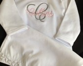 Baby Girl ruffled infant gown monogrammed Set