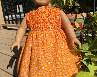 ORANGE SHERBET - 18-Inch Doll Dress