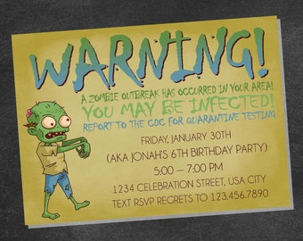 Zombie Birthday Party Invitation (printable digital file)