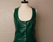 Vintage 1960's Green Leather Dress Snap Mini M