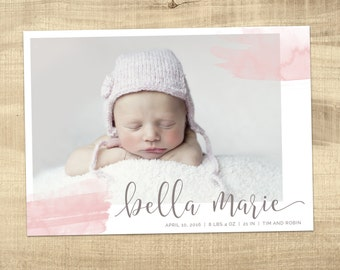 BIRTH ANNOUNCEMENT / photo birth announcement / baby announcement