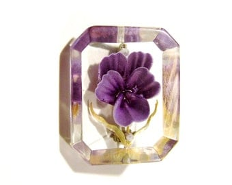 Lucite Reverse Painted Pin - Violet