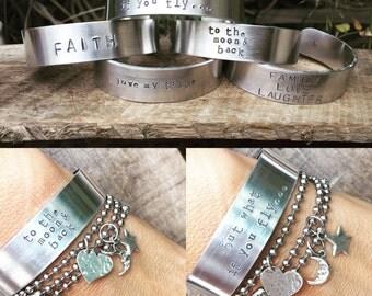 New Aluminum Cuff Bangle - Cuff Hand Stamped Personalized Gift - One Cuff