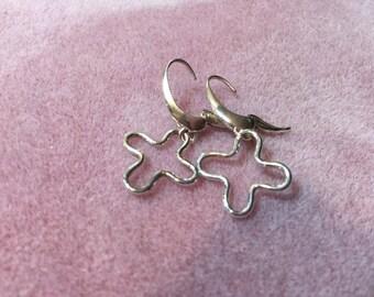 Argentium Cross or Flower Designer Lever Back Dangle Earrings
