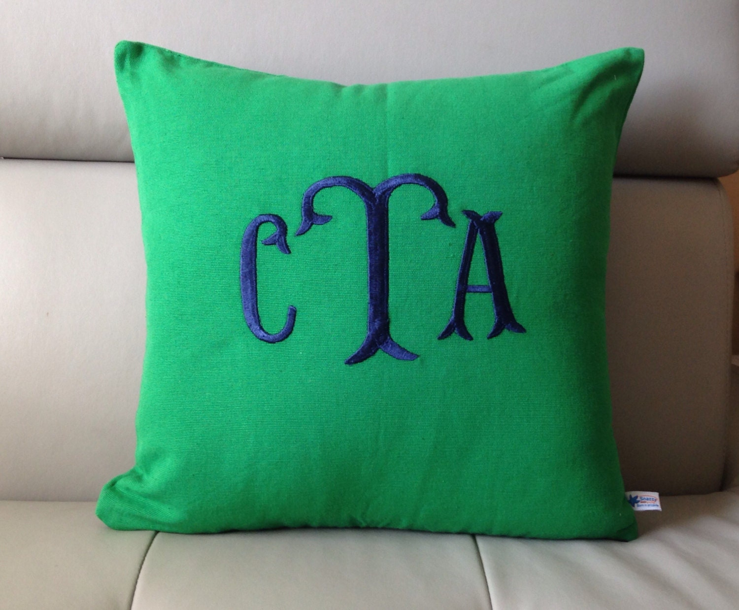 Monogram Pillow Green Decorative Pillow Fish Tail Monogram