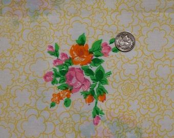 "Vintage Klopman Mills Polyester Cotton Floral Fabric 46"" x 2 1/3 Yds"