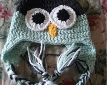 Owl Hat (6-12 mo) Lt Green