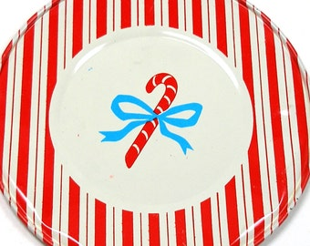Candy Cane Tin Toy Tea Plate, Christmas Stripe by J Chein. Small size.