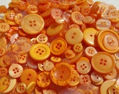 Orange Buttons - Assorted Round Sewing Button - 100 Buttons - Tangerine Tango - Autumn Halloween Thanksgiving