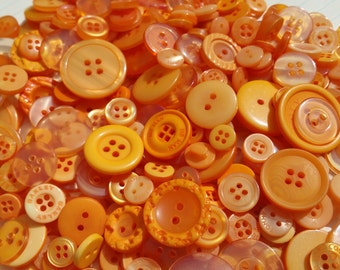 Orange Buttons - Assorted Round Sewing Button - 120 Buttons - Tangerine Tango - Autumn Halloween Thanksgiving