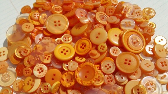 Orange Buttons - Assorted Round Sewing Button - 100 Buttons - Tangerine Tango