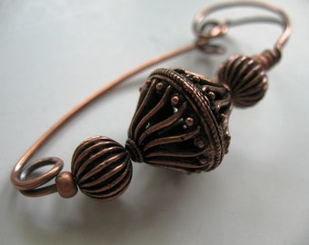 Copper Scarf Pin, Copper Shawl Pin, Sweater Pin, Hat Pin, Closure or Accessory for Your Knits and Weaves