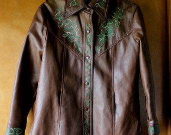 Vintage leaf embroidered vinyl jacket brown and green Noodle Soup California Sportswear 1970s DESTASH