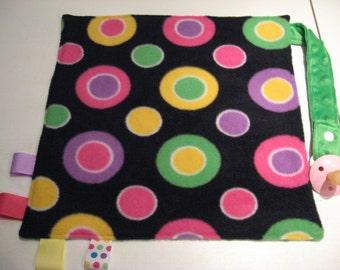 Mini Fleece Security Blanket w/ Pacifier Strap Baby Lovey