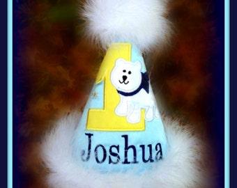 Polar Bear Birthday Hat, Polar Bear 1st Birthday Hat, Polar Bear First Birthday,  First Birthday Hat, polar Bear Cake Smash, Gingham Bunny
