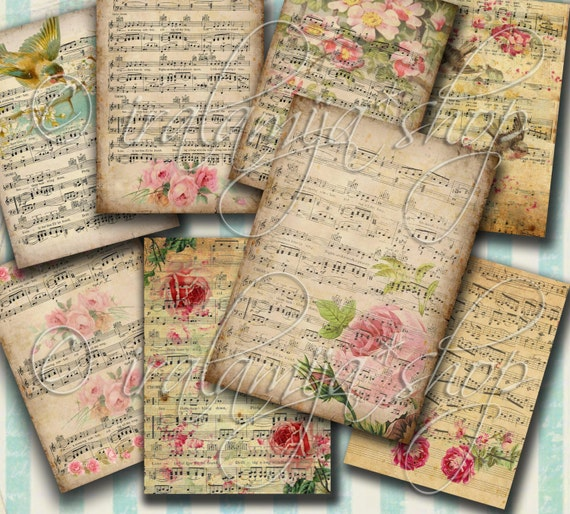 MUSIC NOTES collage Digital Images  -printable download file Digital Collage Sheet Vintage Paper Scrapbook