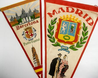 FOUND IN SPAIN -- Barcelona and Madrid pennant set
