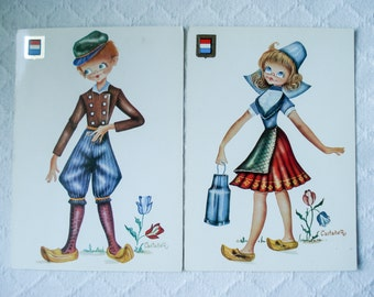 FOUND IN SPAIN -- 2 vintage postcards -- European traditional dress - Holland