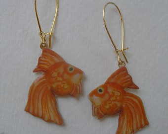 Signed Dalton Goldfish Fish Earrings Kidney Wires Half Baked Ideas