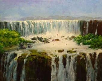 Howard Scherer ORIGINAL oil painting 'The Falls' 16 x 20 FRAMED - waterfalls landscape art