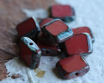 RED SLICES .. 10 Premium Picasso Czech Glass Rectangle Beads 8x10mm (4963-10)